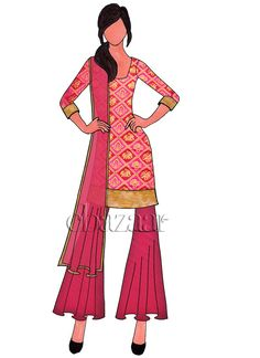 Buy online Salwar Kameez for women at Cbazaar for weddings, festivals, and parties. Explore our collection of Salwar suits with the latest designs. Punjabi Fashion, India Fashion, Fashion Art, Fashion Models, Fashion Design Sketchbook, Fashion Sketches, Sharara Suit, Salwar Kameez, Diy Fashion Dresses