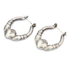 Claddagh Hoop Earrings, Irish Celtic Earrings, Loyalty Love Symbols,... ($40) ❤ liked on Polyvore featuring jewelry, earrings, accessories, heart jewelry, celtic jewelry, handmade jewellery, heart-shaped jewelry and heart hoop earrings