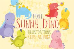 Hi! :)Use my font and illustrations sunny dino for your art projects, prints, invitations, postcards, wallpaper, scenery, posters, bags, wallart, logos, quotes, blogs, website, banners