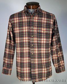 Vintage 1980s Pendleton long sleeve plaid wool flannel grunge shirt