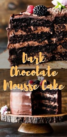 Dark, rich, decadent I didn't find the dark cocoa so used all regular and still so good with a deep chocolate flavor. Thanks for an amazing recipe! Dark Chocolate Mousse, Dark Chocolate Cakes, Chocolate Flavors, Chocolate Desserts, Chocolate Mousse Cupcake Recipe, Chocolate Decadence Cake Recipe, Decadent Chocolate Cake, Just Desserts, Delicious Desserts