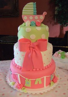 love this baby shower cake! Anna Cakes; make that green top cheetah print instead of polka dots and we got ourselves a cake!!(: