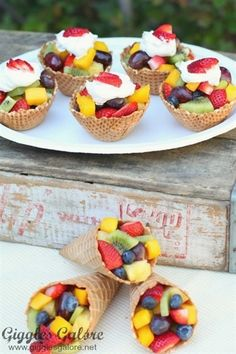Ice Cream Cone Fruit Cups Snacks for party Ice Cream Cone Fruit Cup (Waffle Cone, Fresh Fruit) Fruit Party, Snacks Für Party, Fruit Snacks, Fruit Recipes, Appetizer Recipes, Party Appetizers, Appetizer Ideas, Healthy Snacks, Fun Fruit