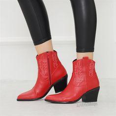 Diyonra Kırmızı Desenli Kalın Topuklu Western Bot  #red #boots #heels #western #kırmızı #bot #topuklu #kovboy Western Boots, Booty, Ankle, Shoes, Fashion, Moda, Swag, Zapatos, Wall Plug