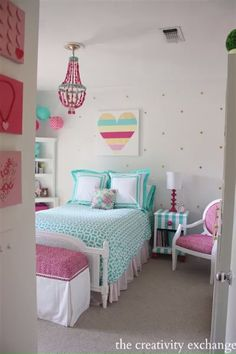 Girls bedroom revamp with a lot of fun DIY projects. The Creativity Exchange Girls bedroom revamp wi Bedroom For Girls Kids, Girls Bedroom Furniture, Teenage Girl Bedrooms, Little Girl Rooms, 6 Year Old Girl Bedroom, Tween Girls, Kids Room, Tween Girl Bedroom Ideas, Bedroom Diy Teenager