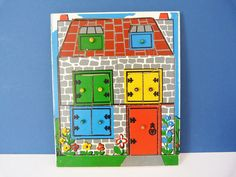 vintage wooden house puzzle tray