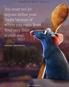 I ❤ this animated cartoon Ratatouille 14 Animated Movies Quotes That Are Important Life Lessons - Tap the link to shop on our official online store! You can also join our affiliate and/or rewards programs for FREE! Life Quotes Disney, Best Disney Quotes, Best Quotes, Quotes From Disney Movies, Inspirational Disney Quotes, Beautiful Disney Quotes, Disney Senior Quotes, Disney Quotes About Love, Famous Quotes From Movies
