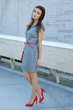 Discover this look wearing Red Zara Shoes, Silver Reserved Dresses, Red Amisu Belts tagged jenni chi - Elegant Gray by Lucine styled for Magic Mirror, Work in the Spring Red Shoes Outfit, Magazine Mode, Business Casual Attire, Gray Dress, Dress Red, Silver Dress, Classy Outfits, Work Outfits, Fashion Outfits