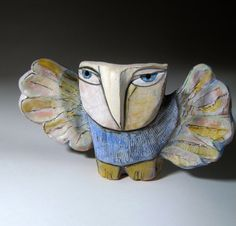 Owl Sculpture Whimsical Ceramic ArtOwl Person by BlueFireStudio, $147.00