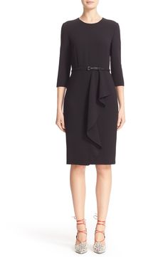 New MAX MARA Biacco Ruffle Wool Crepe Dress fashion online. [$1090]?@shop hoodress<<
