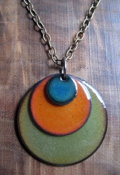 Items similar to Enamel necklace Blue, Orange and Olive Green Triple Copper Enamel disc necklace on Etsy Porcelain Jewelry, Ceramic Jewelry, Enamel Jewelry, Ceramic Beads, Copper Jewelry, Glass Jewelry, Jewellery, Ceramic Necklace, Ceramic Pendant