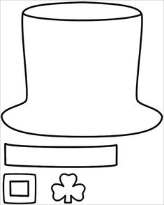 Leprechaun Hat – Paper craft (Black & White Template) - Easy Crafts for All March Crafts, St Patrick's Day Crafts, Paper Crafts For Kids, Shamrock Template, Hat Template, St Patricks Day Hat, St Patricks Day Crafts For Kids, Saint Patricks, St. Patrick's Day