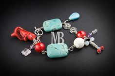 Sterling silver, turquoises, corals, quartz and other semiprecious stones Corals, Belly Button Rings, Turquoise Bracelet, Stones, Quartz, Sterling Silver, Bracelets, Jewelry, Colors