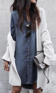 Denim + cardigan