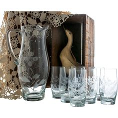 Glass Pitcher and Glasses Set, Etched Glass Pitcher, Retro Clear Glass... ($45) ❤ liked on Polyvore featuring home, kitchen & dining, drinkware, iced tea glasses set, glass set and glass drinkware