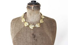 Vintage Gold Leaf Necklace  Chunky Gold Necklace by MeadowsVintage, $22.00