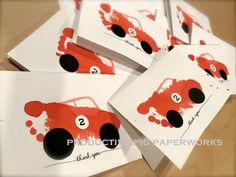 """Red Race Car made with Toddler Footprint and Handwritten font """"Thank You"""" Kid Art, Art For Kids, Personalized Cards, Car Makes, Footprint, Thank You Cards, Race Cars, Snoopy, Racing"""