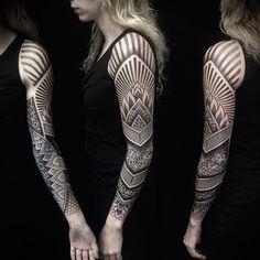 full sleeve dotwork tattoos for women