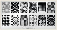 MoYou London Pro Collection Plate 18. Houndstooth & more designs for stamping nail art.