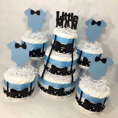 Little Man Diaper Cake Centerpieces - Blue, Black, White Diy Baby Shower Centerpieces, Diaper Cake Centerpieces, Baby Shower Decorations, Little Man Centerpieces, Baby Shower Diapers, Baby Boy Shower, Baby Shower Gifts, Mini Diaper Cakes, Shirt Cake