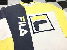 Vintage Fila long sleeve shirt color block big logo Good condition by AlivevintageShop on Etsy