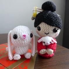 Chinese New Year Doll designed and crocheted to celebrate the Year of the Rabbit.  Free pattern and more pictures in my full blog post!