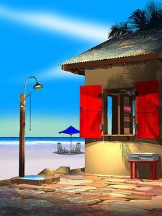 Beach Shower Digital Art by Stephen Harlan
