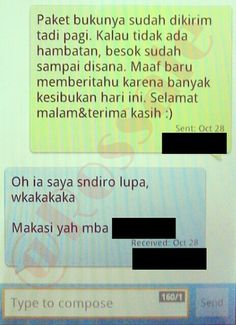 SMS konfirmasi bahwa barang telah dikirim.