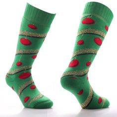 Silly looking Christmas socks that are decorated with snowman ...