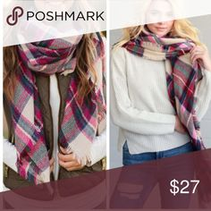 •pink plaid blanket scarf• This blanket scarf is just perfect for fall! Great fall colors and combines effortlessly with any outfit. This is one of our favorite pieces. Material is 100% acrylic. Measures 56 x 58 inches. makenna exchange Accessories Scarves & Wraps