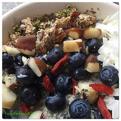 RAW Organic Smoothie Cereal Bowl.  Home-Made Blue-Green Algae Cereal, Coconut Milk, Nuts & Berries. Yum!  So thick, So Filling & So E-Z!  Prepping RAW Food is the