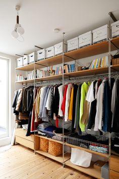 Cozy Coffee Shop, Shelf Inspiration, Small Closet Space, No Closet Solutions, Small Apartment Interior, Closet Shelves, Wardrobe Design, Small Room Bedroom, Cheap Home Decor