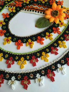 Beaded Necklace Patterns, Beaded Earrings, Handmade Beads, Handmade Jewelry, Seed Bead Necklace, Beaded Ornaments, Bead Crochet, Beaded Flowers, Bead Art