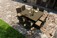 Forever Patio FPHAM9SQDNCHBE Hampton 9 Piece Dining Set with Chocolate Frame * You can get more details by clicking on the image.
