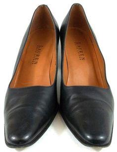 Ralph Lauren Shoes Womens Size 8.5 B Black Leather Pumps Heels #LaurenRalphLauren #PumpsClassics