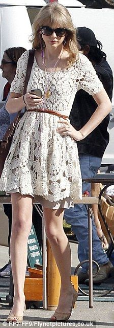 I love this Crochet Little White Dress with the Belt and Purse!