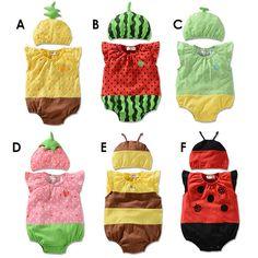 Verano 2015 ropa de bebé fresa abeja sandía piña estilo mameluco del bebé para niños de algodón camiseta de manga trajes de frutas