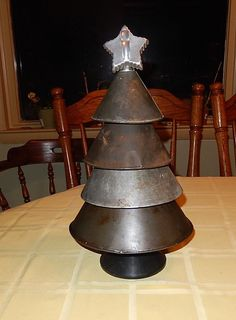 Primitive Metal Funnel Christmas Tree with a Cookie Cutter Star & old yarn spool #NaivePrimitive