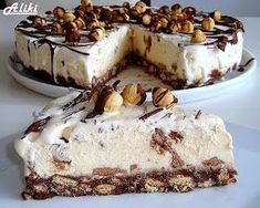 Mamina jela: Sladoled torta Puno mlijeka, al se ne kuha! Greek Sweets, Greek Desserts, Frozen Desserts, No Bake Desserts, Easy Desserts, Dessert Recipes, Dessert Cookbooks, Frozen Yoghurt, Chocolate Sweets