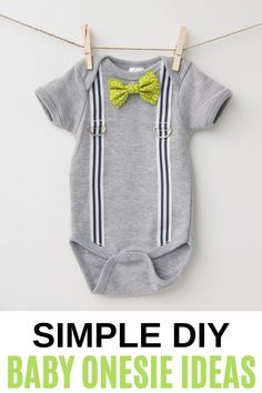 Oh my, do I ever love sewing anything that has to do with babies!  Whether it's for my own baby….or a baby gift for someone else.  These simple DIY baby onesie ideas not only comes together pretty quickly (because babies are little…which means less fabric and supplies), but also because itty bitty baby anything, is just so DARN CUTE to make! #diybabyonesies #craftsforbabies