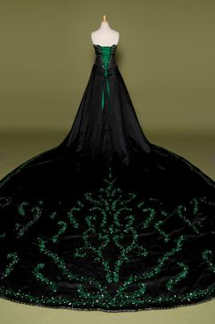 Gorgeous Gothic goth style wedding dress with green embroidery.  A beautiful black bridal gown.