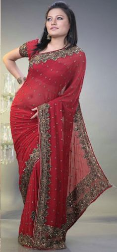 #Red #Saree - £100.00. For full product information visit: http://www.reevaonline.co.uk/maroon-red-shade-faux-georgette-saree-with-blouse-fabric.html