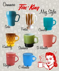 This is a selection of some of the more popular and common mugs styles. Today the most often found mug styles are the D-handle, C-Handle and the Stackable.