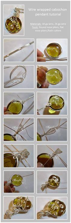 Amorfia Unique Jewelry: Wire wrapped cabochon pendant tutorial