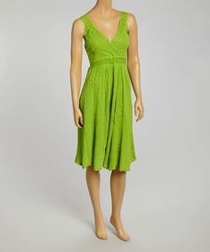 Another great find on #zulily! Green Lace Empire-Waist Dress #zulilyfinds