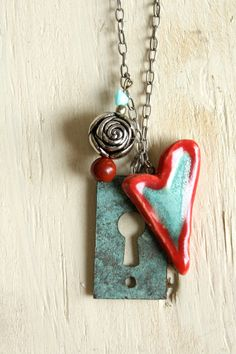 Vintage Turquoise and Red Necklace with heart and copper keyhole! $27.00