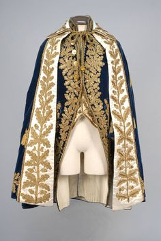Cobalt velvet coat with high stand collar, wide cuff and faux pockets, heavily decorated with a foliate pattern in metallic gold braid, cord and sequins, reproduced white satin waistcoat using trim fr. Outfits Casual, Mode Outfits, Fashion Outfits, Fashion Trends, Historical Costume, Historical Clothing, Look Fashion, Mens Fashion, Fashion Design