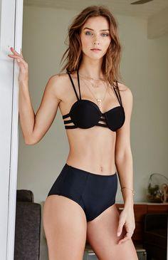 63b7919f14 Cage Strappy Push Up Bikini Top Tankini Top, Underwire Bikini Top, Black  Tankini,