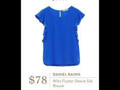 Daniel Rainn Wiltz Flutter Sleeve Silk Blouse Any color other than Royal and black