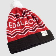 CFL Ottawa REDBLACKS Toque. Dress in style this winter with the CFL REDBLACKS toque. Whether you're just walking through the streets of Ottawa or in the stands at TD Place, make sure you #RepYourHood with this limited edition toque.  An official Tuck Shop and CFL collaboration.   Proudly Made in Canada. Ottawa Redblacks, Sports Trophies, Grey Cup, Victorious, North America, Beanie, Canada, Knitting, Celebrities